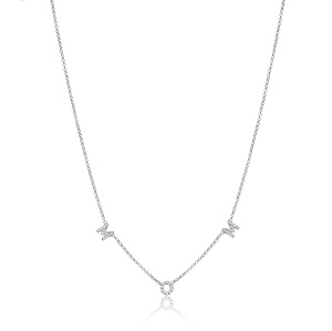 Stone initial MOM necklace-1864